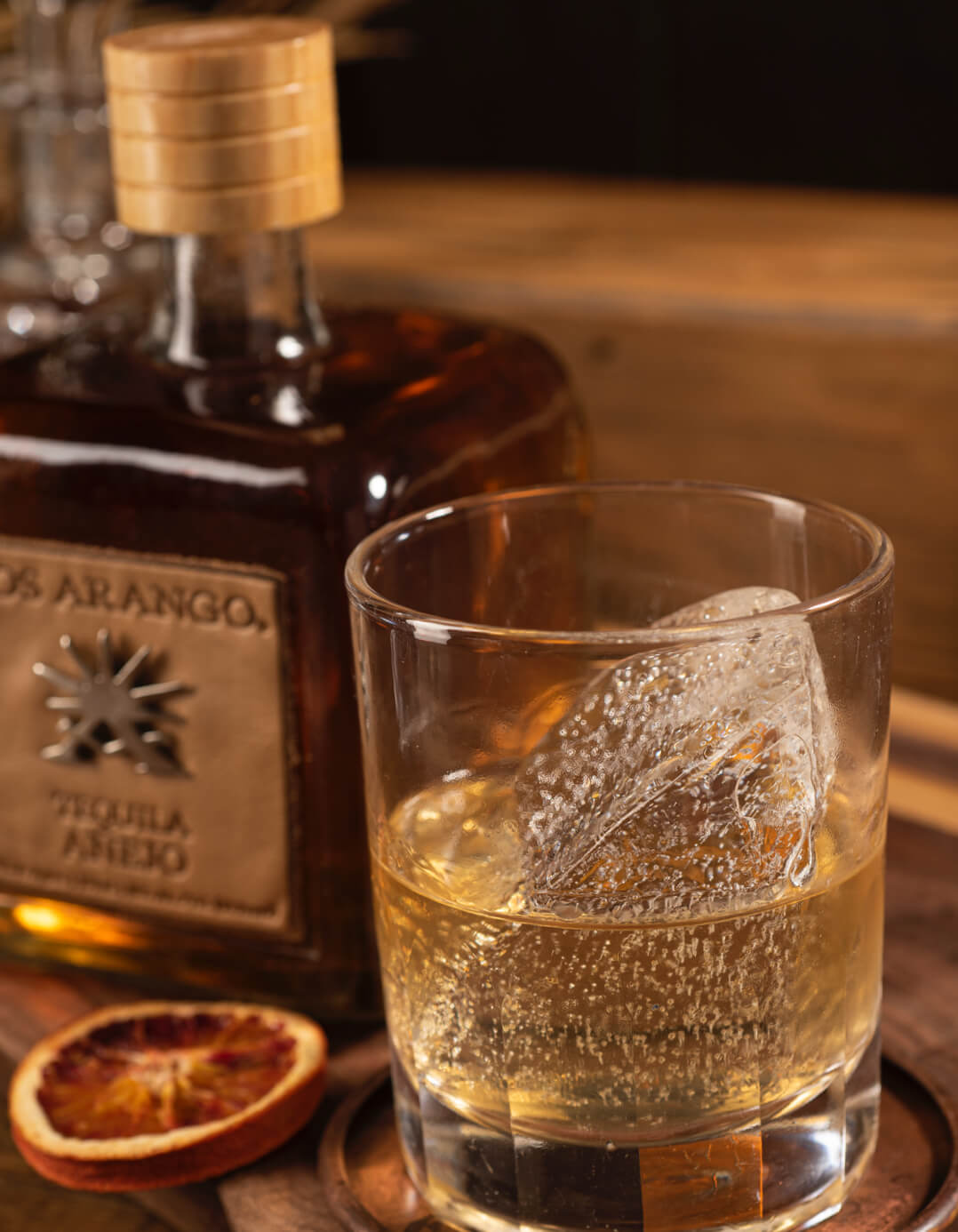 los arango añejo tequila served on the rocks