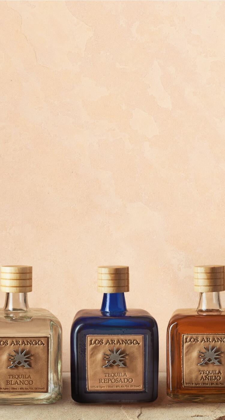 los arango tequila bottles: blanco, reposado, and añejo